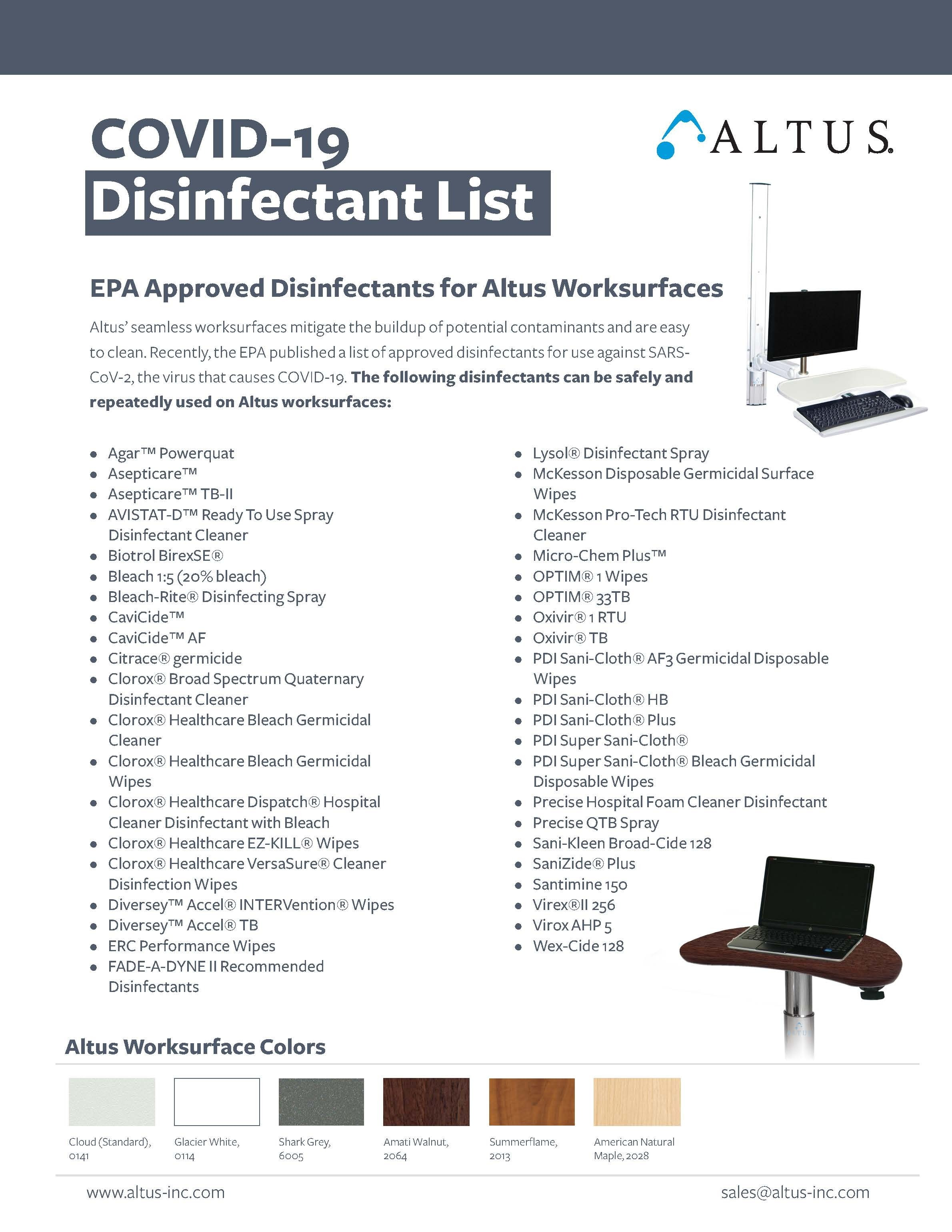 Covid 19 disinfectant list cover